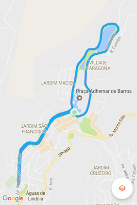 1o night run águas de lindoia mapa