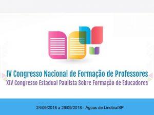 Congresso nacional de formação de professores, quarta edição, águas de lindoia 2018