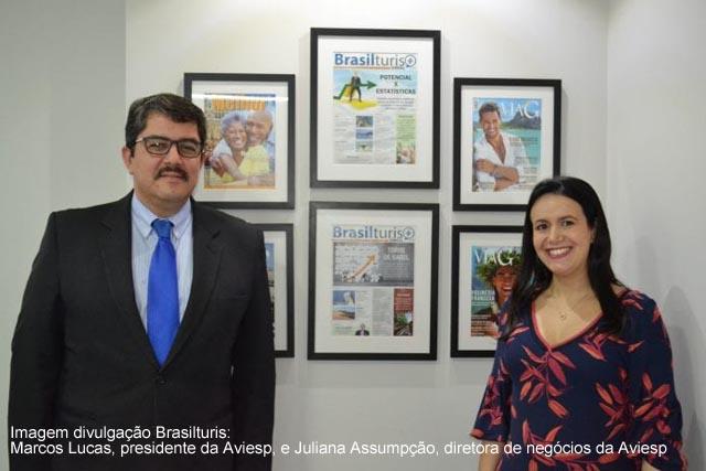Marcos Lucas presidente da Aviesp e Juliana Assumpcao diretora de negocios da Aviesp, edição 2019